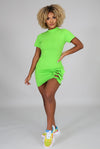 Something Special......Mock Neck Short Sleeve Mini Dress.