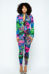 No Complaints....Mesh Tropic Print Jumpsuit