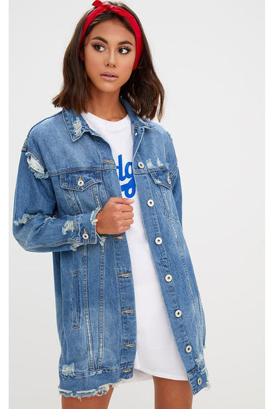 Where We Going Long Oversized Denim Jacket