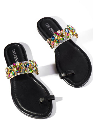 Pop Ups....Single Toe Rhinestone Embellished Sandals