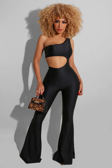 Bad & Boujee.....Power Satin One Shoulder Flare Leg Jumpsuit.