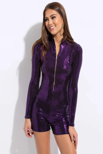 I Am The Party....Long Sleeve Sequence Romper