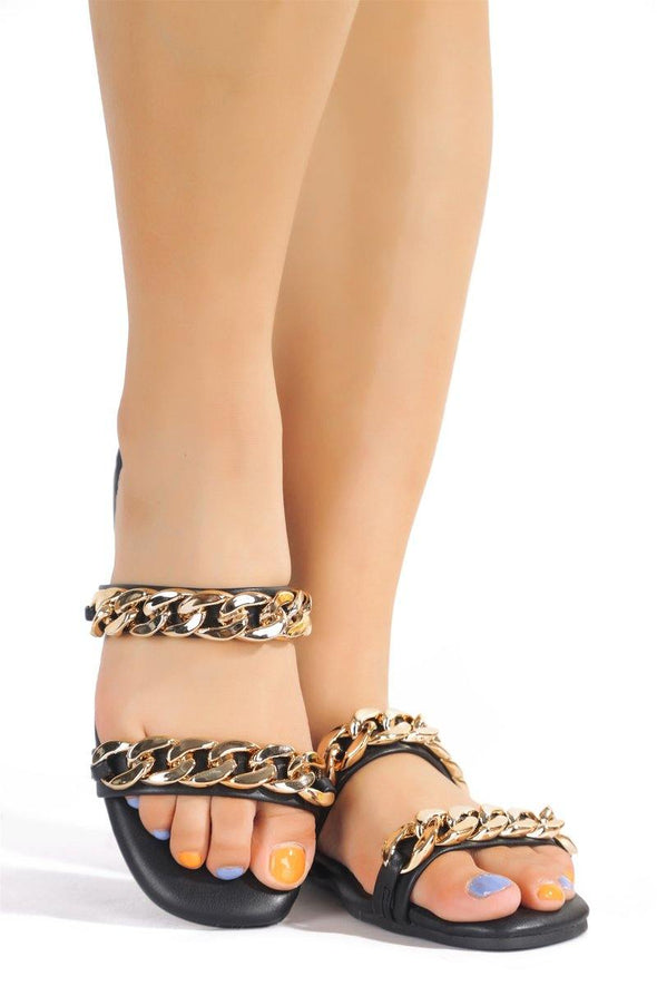 Sandie...Double Chain Thin Band Sandal Slides.
