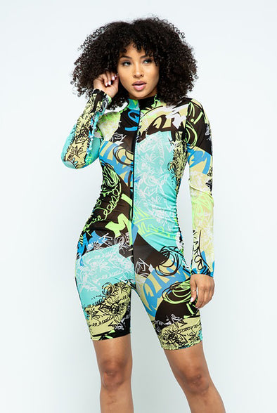 Unbothered....Long Sleeve Scribble Print Mesh Romper