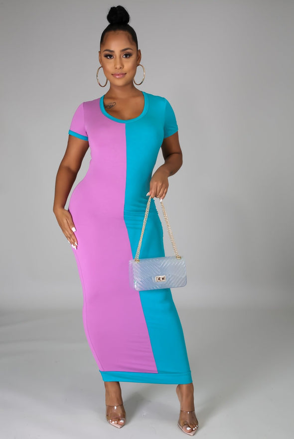 Surprise Me.....Short Sleeve Color Block Fitted Midi Dress