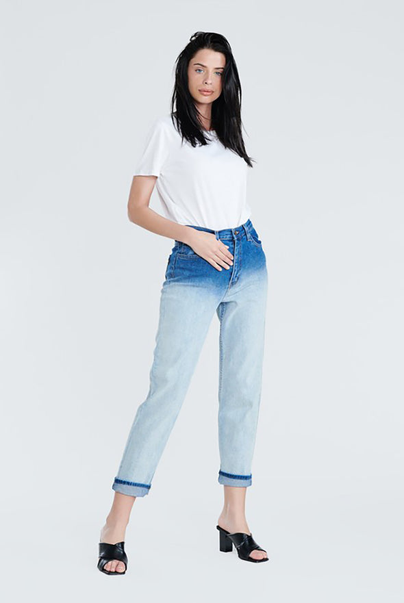 Throwing Shade.....Two Tone Mom Jeans