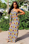 Xena.....Single Long Sleeve Crop Maxi Skirt Set.