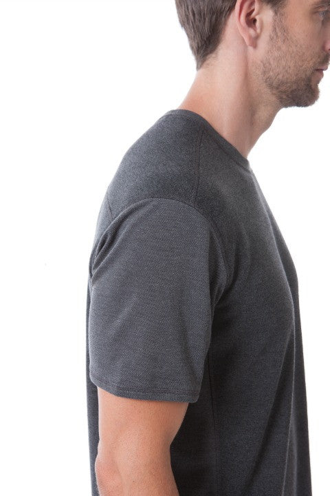 Buki's Cruiser Tee for men: Streamlined design with live-in-it comfort. Made with technical fabric to keep you warm or cool in comfort