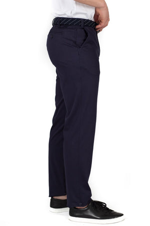 Buki's Navigator Pant features a flat front, 1/4 top slant pockets, and a hidden-stretch waistband with belt loops