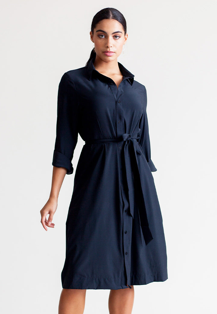 Buki Shirt Dress with 3/4 sleeves and waist tie l Free Shipping