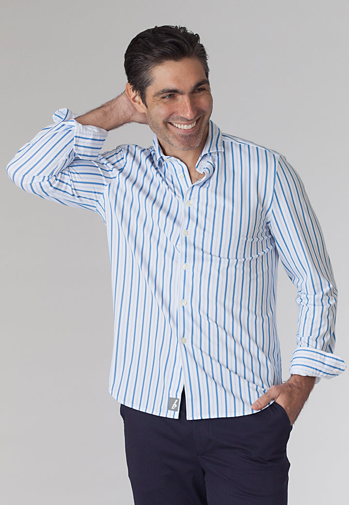 Buki's Barrett Stripe Shirt: a long-sleeve, button-front printed shirt that looks like the work week but plays like the weekend.