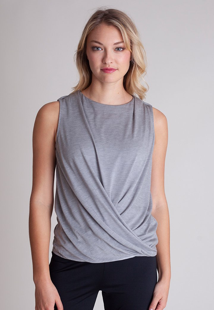 Heather Grey Technical T-Shirt by Buki | Soft-Tech Fabric with a Pleated Swing Hemline