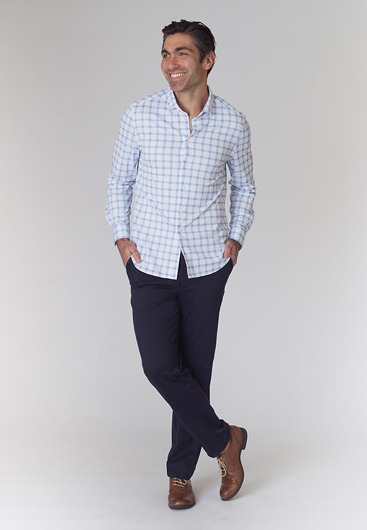 Buki's Courtside Shirt: a long-sleeve, button-front printed shirt that looks like the work week but plays like the weekend