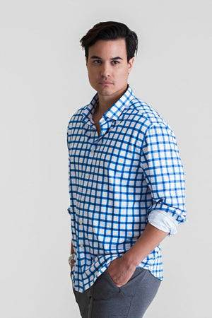Buki's Courtside Plaid Shirt | Streamlined design with live-in-it comfort. Made with technical fabric to keep you dry and comfortable. | Men's Clothing | Men's Long Sleeve Button Down Shirt | Free Shipping