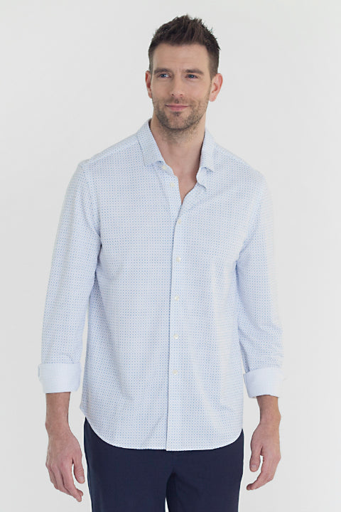 Buki's Ditzy Shirt for men: Streamlined design with live-in-it comfort. Made with technical fabric to keep you dry and comfortable.