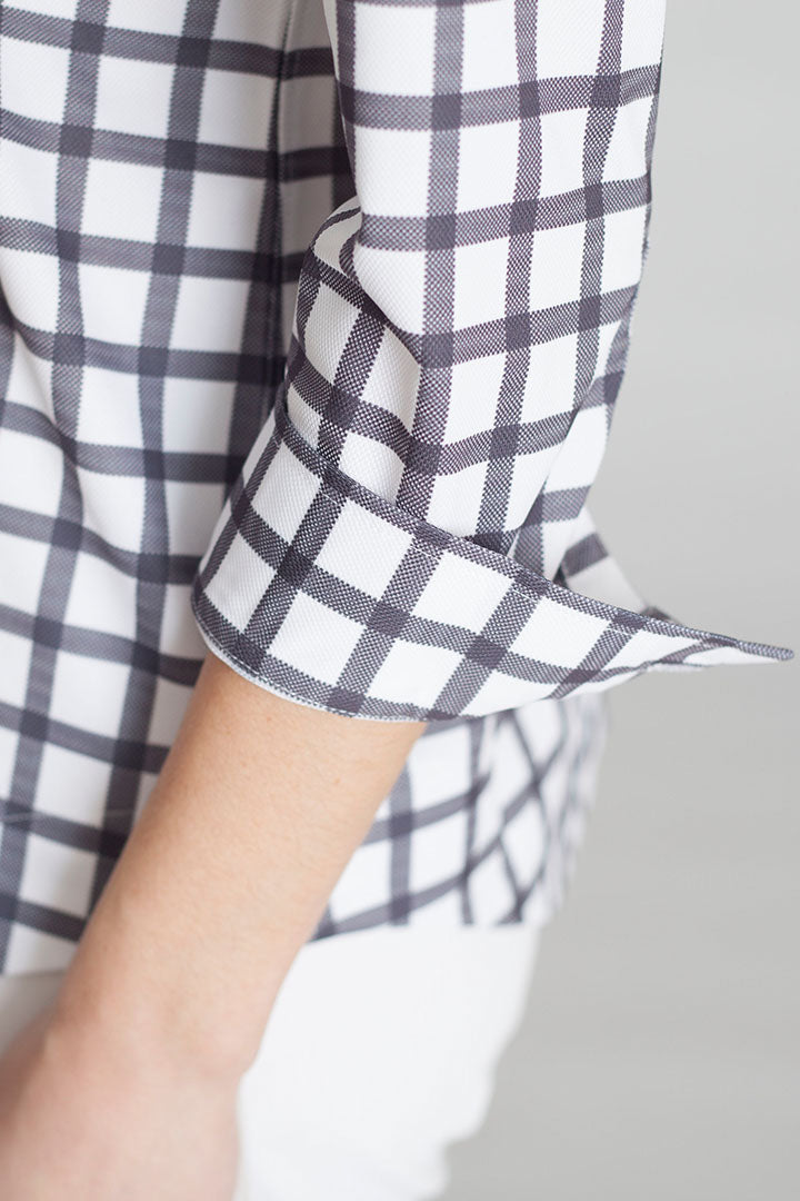 Buki's Double Vee Blouse. Women's woven-like shirt.  A classic woven shirt in a technical fabric – V-neck - bracelet sleeve - black and white check print | Free Shipping