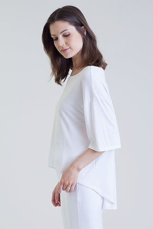 Buki's Como Crew features a curved hemline to be flattering on any body type
