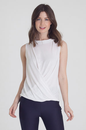 White Technical T-Shirt by Buki | Soft-Tech Fabric with a Pleated Swing Hemline