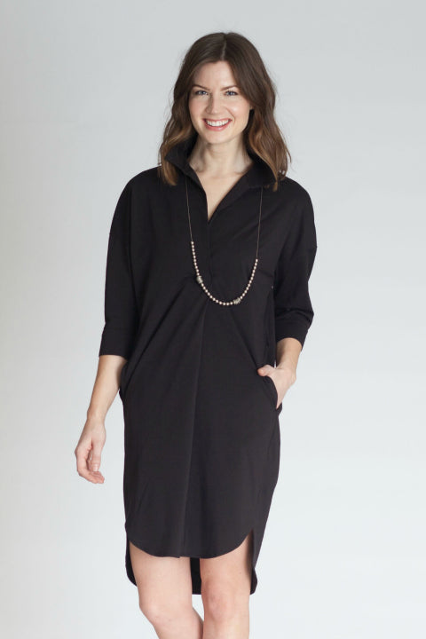 Buki's Masterpiece Dress is a placket style dress crafted with a technical fabric for the ultimate in comfort.