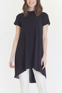 Buki's Twirl Tee is a long tee shirt that has a beautiful drapey back