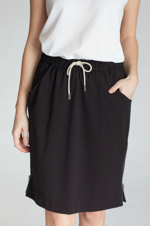 Buki's Zip It Skirt has an elastic waistband and drawstring for the ultimate in comfort.