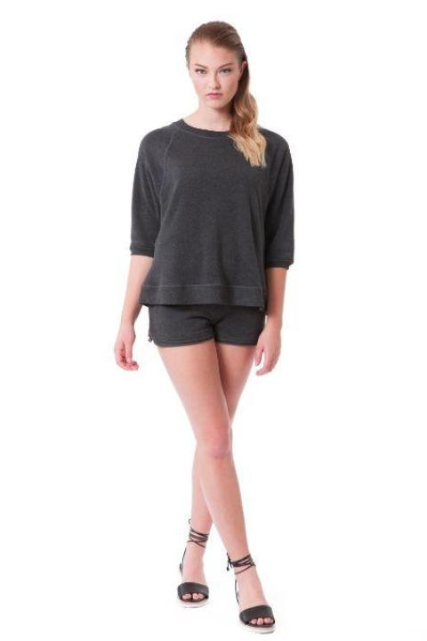 Buki's Lounger Crew | Designed to add a touch of carefree and relaxed class to your day-to-day wardrobe. This short-sleeved crew has clean lines appropriate for the office, but the casual swing of weekend wear | Women's Clothing | Women's Sweatshirt | Free Shipping