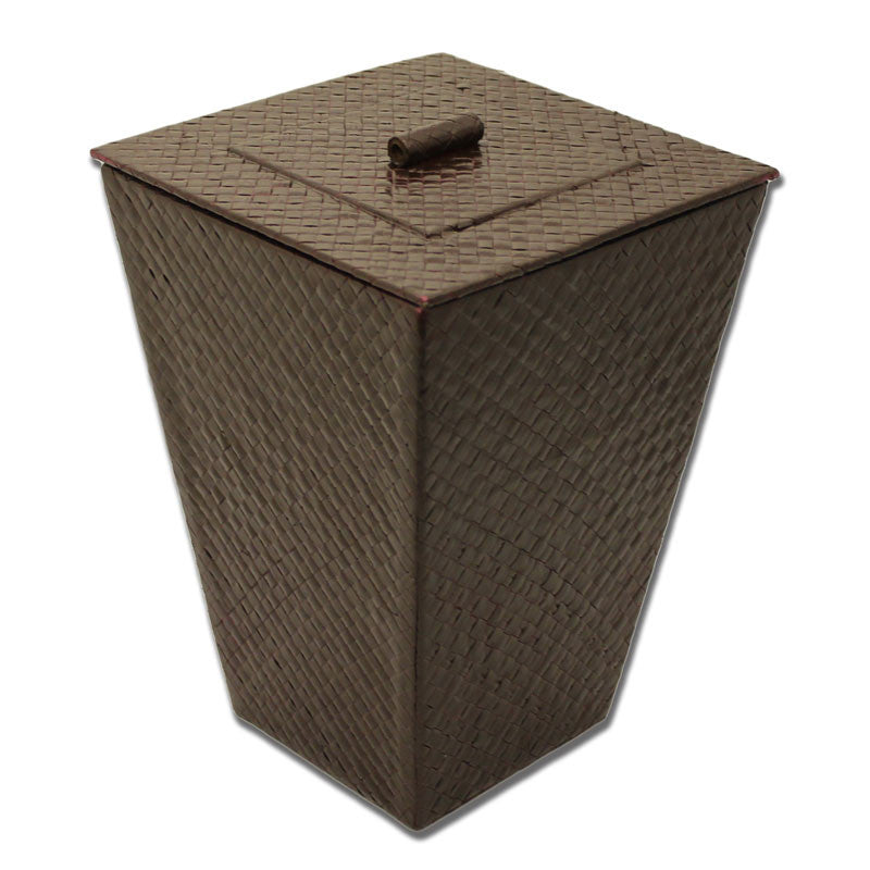 Brown Rattan Waste Bin