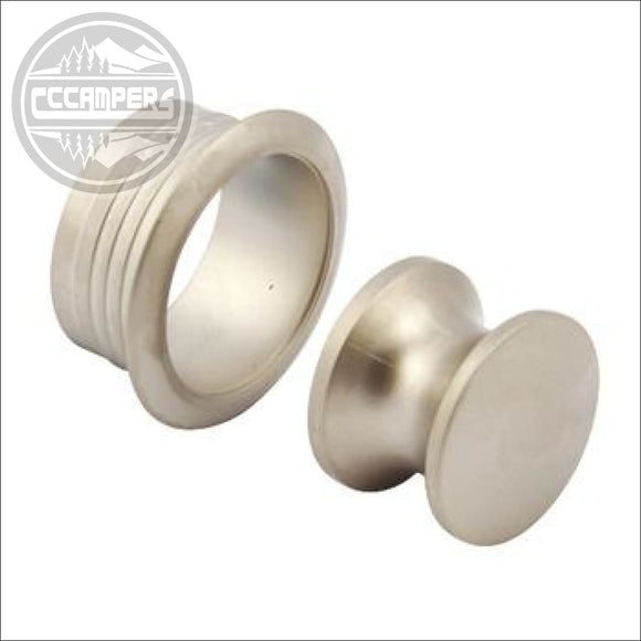 25mm Push Button Catchpale nickel (inc Rosette) - CCCAMPERS