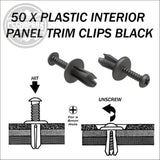 50 x Plastic Interior Panel Trim Clips black or grey - cccampers.myshopify.com