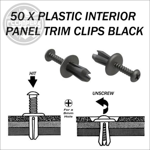 50 x Plastic Interior Panel Trim Clips black or grey - Black - Carpet Lining