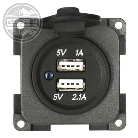 CBE 12v Twin USB Socket With Waterproof Cover - 12V and 240V Components