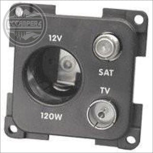 CBE 12volt socket + TV + Satellite socket - 12V and 240V Components