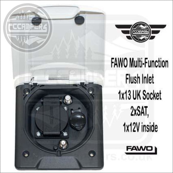 FAWO Multi-Function Flush Outlet 13 amp UK Socket 2xSAT 1x12V with Magnetic Locking - Exterior Inlets & Outlets