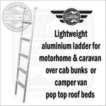 Lightweight aluminium ladder for motorhome & caravan over cab bunks or camper van pop top roof beds - CCCAMPERS