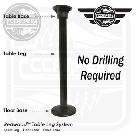 No hole drilling Black TABLE LEG SYSTEM by Redwood™ - CCCAMPERS