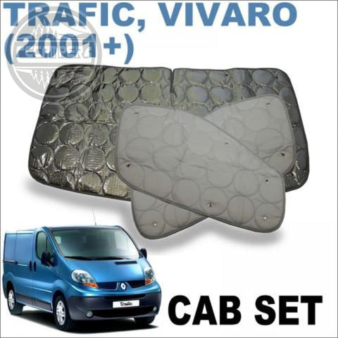Vivaro also fits Trafic, NV300 & Talento 3 Piece Thermo Mat silver screens Cab Kit - cccampers.myshopify.com