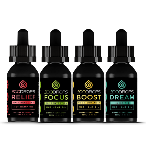 CBD Drip ECODROPS - Relief, Focus, Dream, and Boost