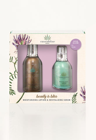 Cannabliss Organic Moisturizing Lotion + Revitalizing Serum Gift Set