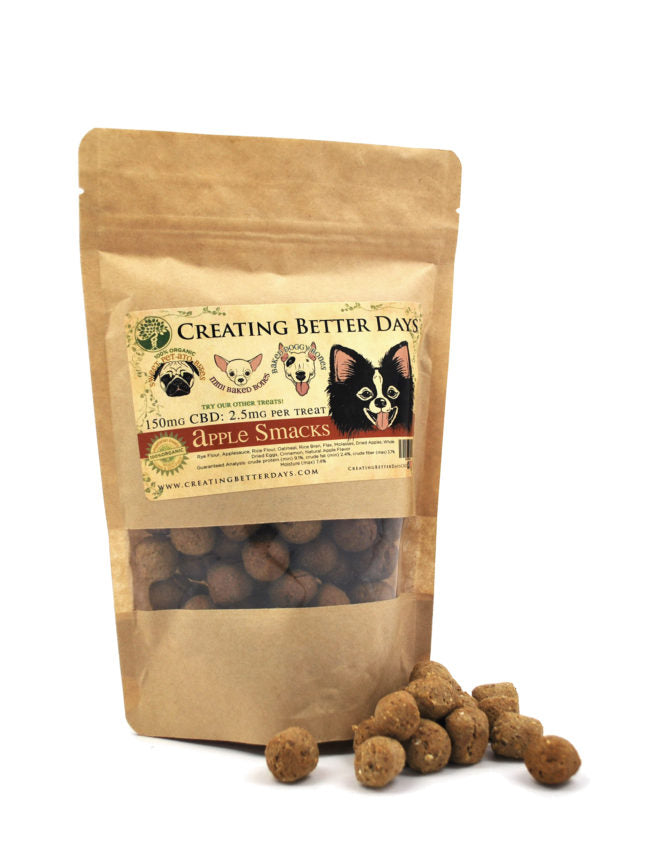 Creating Better Days Organic CBD Dog Treats - Apple Smacks or Sweet Pet-Tato Bites