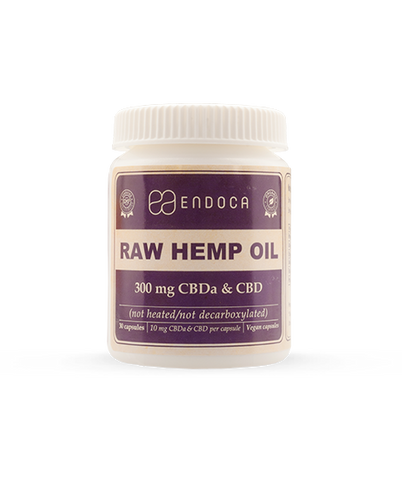 Endoca RAW Hemp Oil Capsules 300mg or 1500mg CBD + CBDa