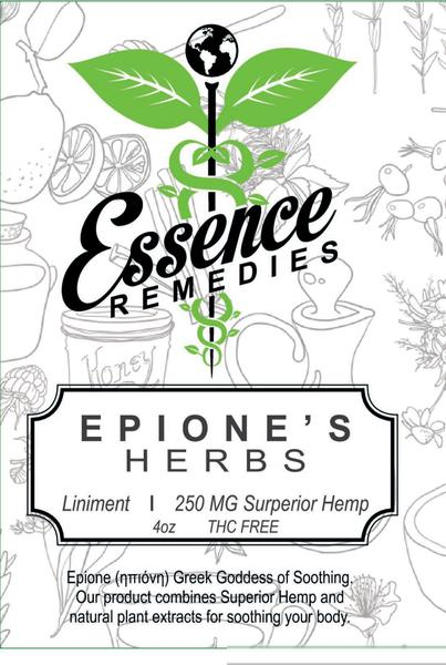 Essence Remedies:  Epione's Herbs Liniment Soothing Massage and Bath Oil