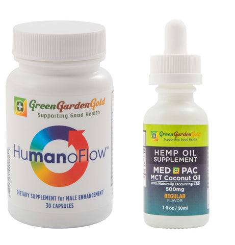 Green Garden Gold HumanoFlow (Male) & 500mg Med Pac Hemp Oil Bundle