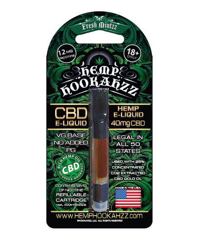 Hemp Hookahzz: 40mg Hemp CBD E-Liquid Prefilled Cartridge
