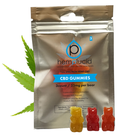 Hemplucid Whole-Plant CBD Gummies 3 or 30 Gummies