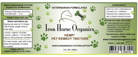 Iron Horse Organics Hemp+ CBD Pet Remedy Tincture, Veterinarian Formulated 2oz 550mg