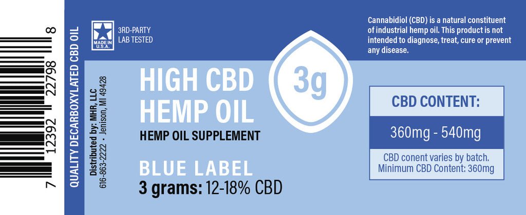 Proprietary Hemp Extract – Blue Label 150mg, 450mg, 1500mg CBD