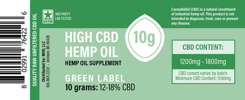 Proprietary Hemp Extract – Raw CBD Oil Green Label 150mg, 450mg, 1500mg