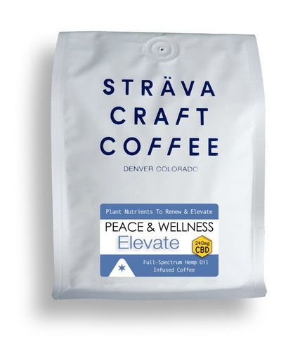 Strava Craft Coffee: Peace and Wellness ELEVATE Coffee - Infused with 8X Plant Nutrients 240mg of CBD