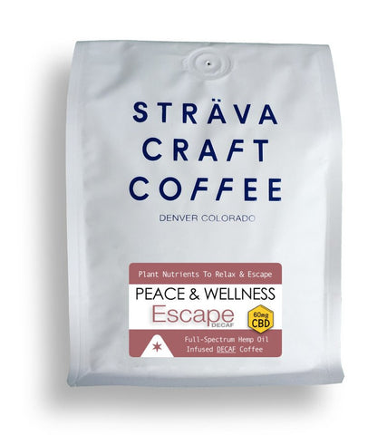 Strava Craft Coffee:  Peace and Wellness ESCAPE - Hemp Infused Decaf Coffee - Infused with 60mg CBD