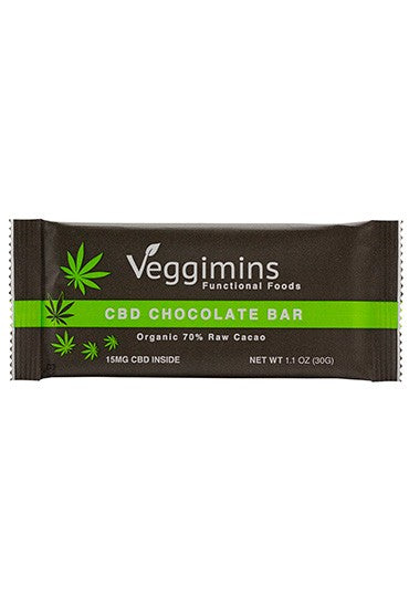 Veggimins Organic Dark Chocolate Bar -  5 mg or 15mg Hemp CBD